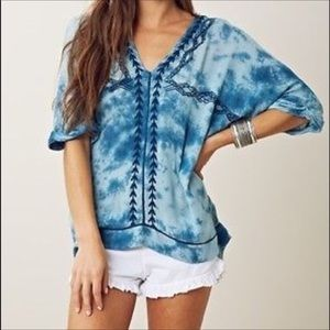 Free People Embroidered Tie Dye Tunic